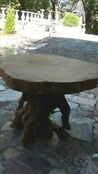 1920c Free Form 5live Edge Oak Slab Top W/madrone Root Base Center Table