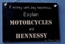 Happiness Motorcycles And Hennessy Cognac Sign Bar Rare Harley Davidson Liquor