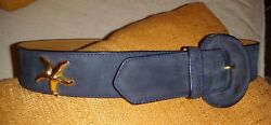 Anne Vignes Cannes France Belt Navy Suede With Gold And039starfishand039 Embellishments