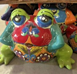Talavera Mexican Pottery - Animals-h Lg Round Frog Planter Free Freight