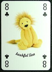 1 X Playing Card Jellycat London Bashful Lion 8 Of Clubs