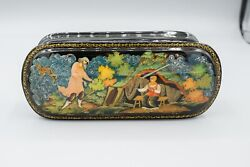 Russian Black Lacquer Box The Fairytale Of The Fisherman And The Fish K.u.