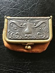 Antique Silver/leather Advertisement Coin Purse,victorian,jamestown, Ny,hardware