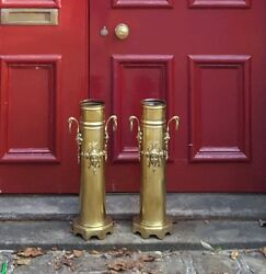 Two Antique Militaria Trench Art World War One Shells Walking Stick Fireplace