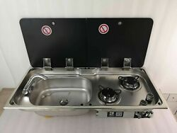 Boat Rv 2 Burner Gas Stove Sink With 2 Glass Top 30.514.45.9/4.7 Gr-904ld