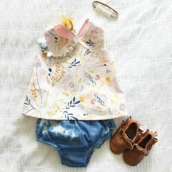 Infant Baby Kid Girl Clothes Flower Tops Mini Skirt Shorts Headband Outfits Sets