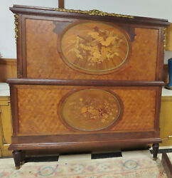 Antique 19c Louis Vi French Bed Inlaid With Bronze Ormolu