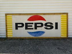 Vintage Pepsi Sign Huge 10and039 X 4and039 Embossed Metal And Framed