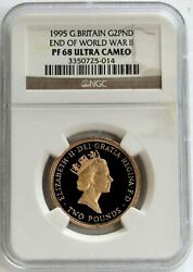 1995 Gold Great Britain Two Pounds End Of World War Ii Ngc Proof 68 Ultra Cameo