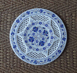 12 Rare Marble Plate Lapis Inlay Floral Arts Grill Work Mosaic Handmade Gifts