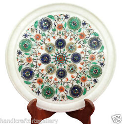 10 Marble Design Plate Malachite Floral Inlay Arts Marquetry Decor Gifts H2275