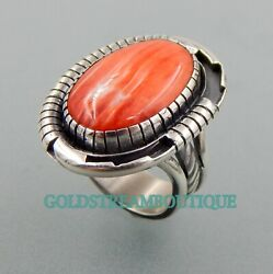 Lovely Handcrafted Sterling Silver Spiny Oyster Southwestern Oval Ring Size 8.5