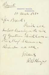 Rutherford B. Hayes - Autograph Letter Signed 03/10/1880