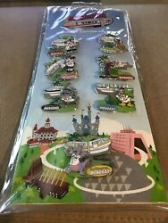 Disney Wdw Monorail Limited Edition Pin Set 7 Stitch Figment Goofy Le 1000 And 600