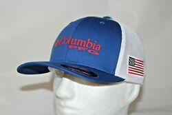 Columbia PFG USA Patch Mesh Fitted FlexFit Ball Cap Hat Mtn Blue LXL FREE Decal