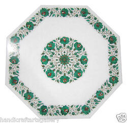 24 White Marble Coffee Table Top Malachite Floral Inlay Arts Garden Decor Gifts