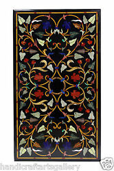 24x42 Black Marble Dining Table Top Carnelian Inlay Furniture Decor Gift H1383
