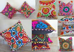 Ethnic Suzani Cushion Cover 16x16 Vintage Embroidered Cotton Throw Pillow Cases