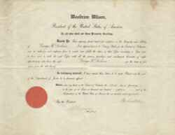 Woodrow Wilson - Civil Appointment Signed 01/22/1918 With Co-signers