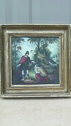 Antique Austrian Hand Painted Porcelain Plaque Of Soldier Andkneeling Woman,framed