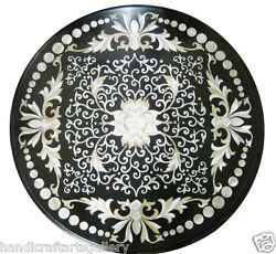 30 Black Marble Coffee Side Table Top Mother Of Pearl Inlay Garden Decors H1941