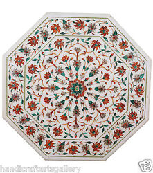 3and039x3and039 White Marble Dining Center Table Top Carnelian Inlaid Mosaic Home Decors