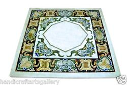 3'x3' White Marble Coffee Table Mosaic Inlaid Arts Marquetry Home Decors Gifts