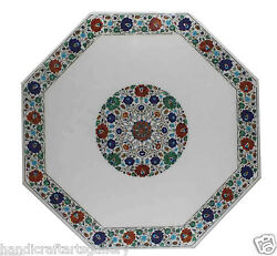 4and039x4and039 Marble Dining Table Top Rare Multi Stone Inlaid Marquetry Home Decors Work
