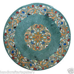 4'x4' Green Marble Dining Table Top Marquetry Inlay Floral Art Home Kitchen Deco