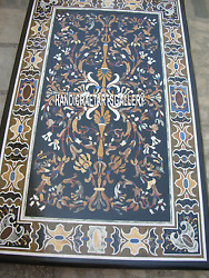 6'x3' Black Marble Dining Top Table Inlay Floral Pietra Dura Art Home Deco H3143