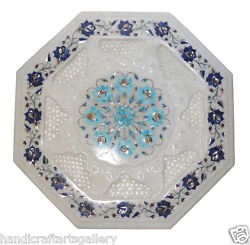 14x14 White Marble Top Table Top Lapis Gem Floral Inlay Marquetry Garden Décor