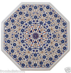 16 White Marble Dining Room Table Lapis Lazuli Micro Mosaic Inlay Decors H2184