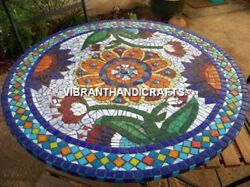 White Marble Indian Round Dining Table Top Precious Stone Inlay Decorative H3812