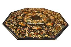 Black Marble Dining Table Top Marquetry Floral Art Handmade Home Decorates H3810