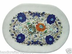 12x18 Marble Tray Plate Semi Precious Mosaic Inlaid Dining Table Decoration