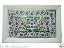 12x18 Marble Serving Dish Plate Lapis Marquetry Floral Inlay Art Handmade Deco