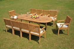 11-piece Outdoor Teak Dining Set 94andrdquo Oval Extension Table 10 Arm Chairs Sack
