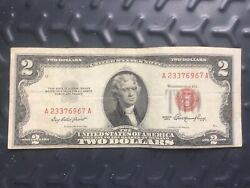 Two Dollar 2 Red Seal 1953 A Bill Note Currency