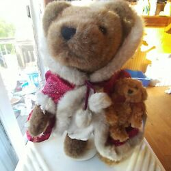 Sasha And Nicholas Holiday Collectible Bears W/ Red Cape And Teddy On Stand Plush