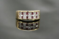 0.5cts Ruby And 1.33cts Diamond 18k Yellow Gold Nova Menandrsquos Ring Size 6.75
