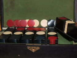 360 Victorian Poker Chips In Wood Leather Box Catalin / Bakelite 6 Trays Of 60