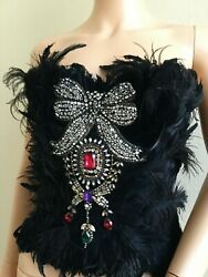 New Dolceandgabbana Strapless Ostrich Crystal Bustier Top It38 Us2-us4