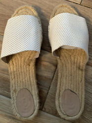 JCrew Flat Slip On White Perforated Leather Espadrilles Size 11 Made In Spain