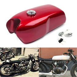 9l / 2.4gal Universal Vintage Motorcycle Cafe Seat Fuel Gas Tank And Cap Switch