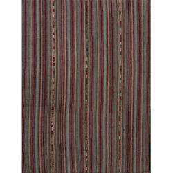 Red And Blue Striped Vintage Handwoven Kilim Area Rug 5′4″ × 6′7″
