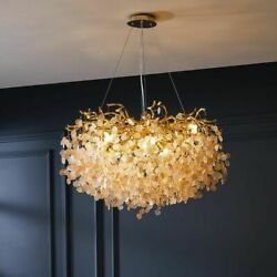Chandelier Ceiling Lights Fixture Crystal Leaves Plants Designed Home Office New