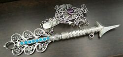 Stunning Antique 1830s German 800 Silver, Amethyst And Turquoise Sewing Chatelaine
