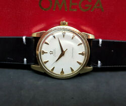 1958 Omega Seamaster Honeycomb Cream Dial 18k Gold Cap Cal501 Auto Manand039s Watch