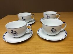 Rare Guy Degrenne Mickey Mouse Porcelaine Cups And Saucers 4 Sets - Disney