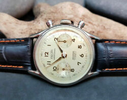 Rare Vintage Enicar Chronograph Silver Dial Manual Wind Manand039s Watch